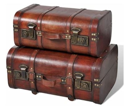 2 valises vintage en bois vidaXL