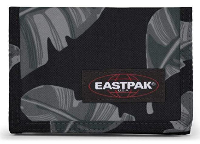eastpak single crew portefeuille noir et gris feuille leaf
