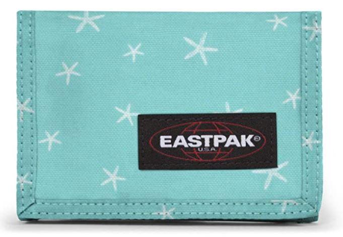eastpak single crew portefeuille pour fille bleu clair avec etoiles blanches
