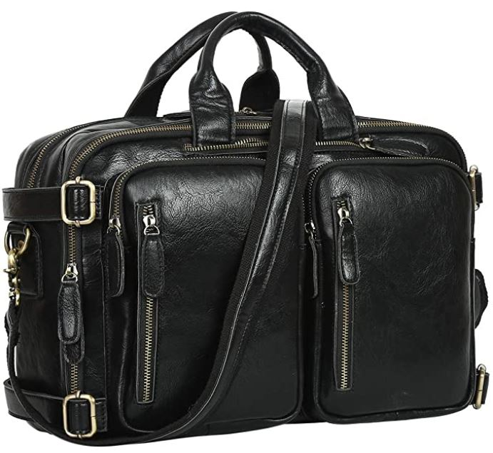grande sacoche bandouliere pour homme en cuir noir de Lethario