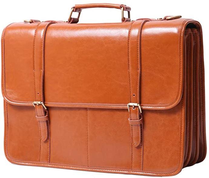 leathario sac messager cartable en cuir marron clair pour homme
