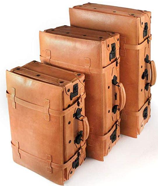 lot de 3 valises en cuir vintage