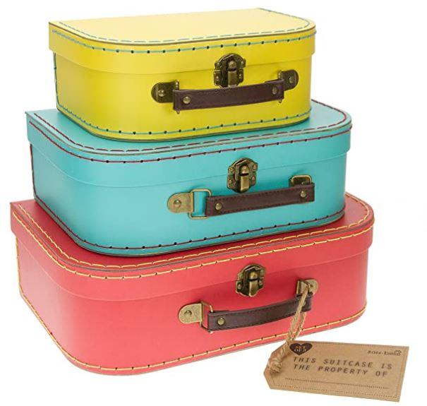 lot de 3 valises vintage de couleur sass belle valisettes retro flashy