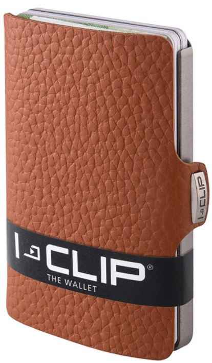 porte carte anti RFID I CLIP en cuir marron noix