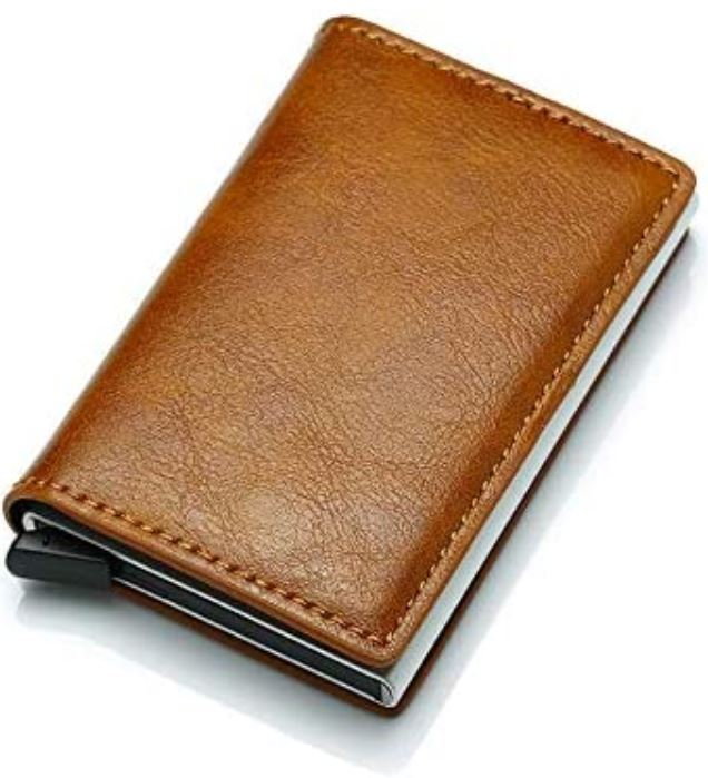 porte carte anti Rfid en cuir marron et aluminium