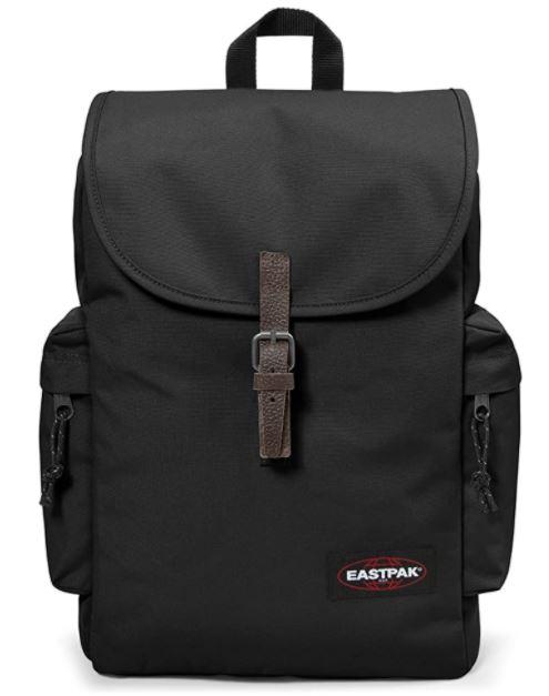 sac a dos Eastpak Austin noir avec strap en cuir