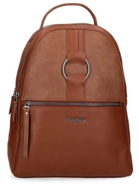 sac a dos en cuir marron pour femme Pepe Jeans