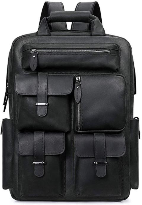 sac a dos en cuir noir pour les hommes