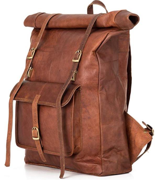 sac a dos homme en cuir marron vintage