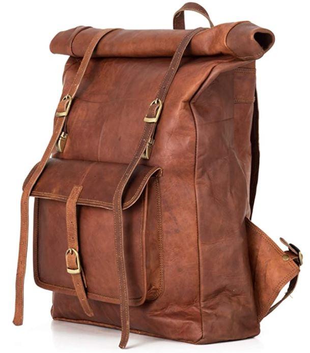 sac a dos noir en cuir marron homme Berliner bags