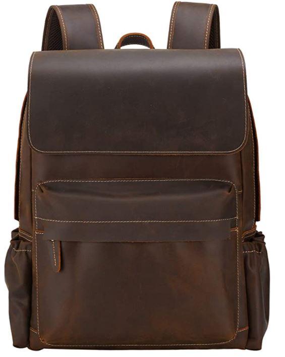 sac a dos noir en cuir marron vintage pour homme