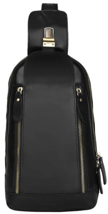 sac de poitrine en cuir noir Leathario
