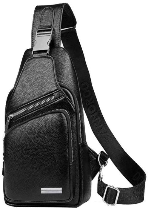 sac de poitrine pour homme Leathario noir en cuir