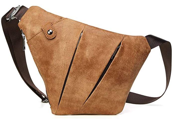 sac poitrine masculin en cuir marron clair marque fandare