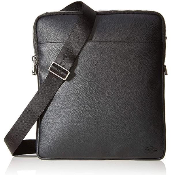 sacoche Lacoste homme modele gael en cuir noir