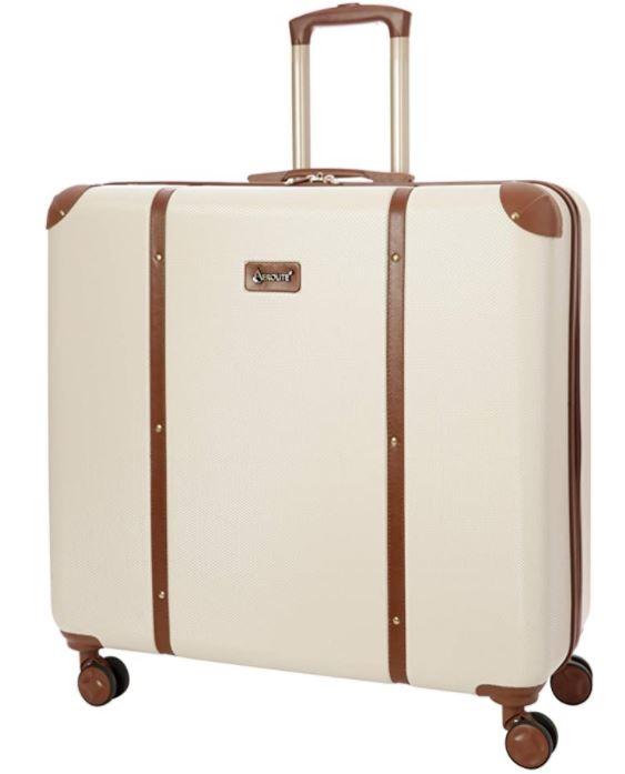 valise au look retro vintage beige clair et marron
