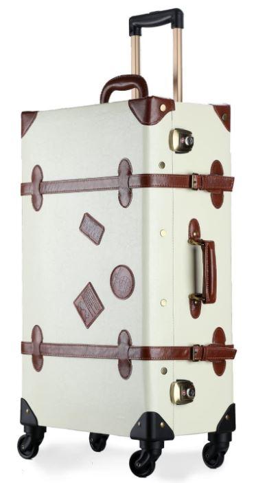 valise voyage retro blanche et marron cuir avec 4 roues