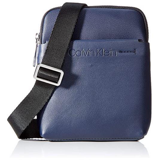 Calvin Klein Mini Flat Crossover sacoche en cuir bleu pour homme