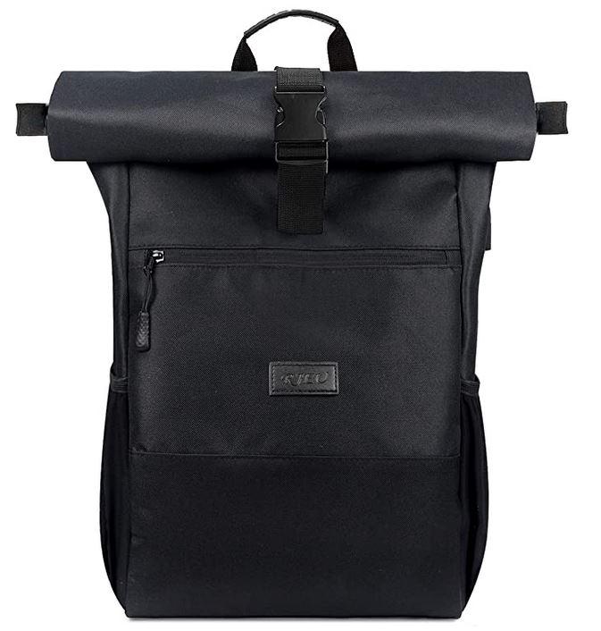 RJEU roll top sac a dos noir pour ordinateur portable de 17 pouces avec port de chargement USB