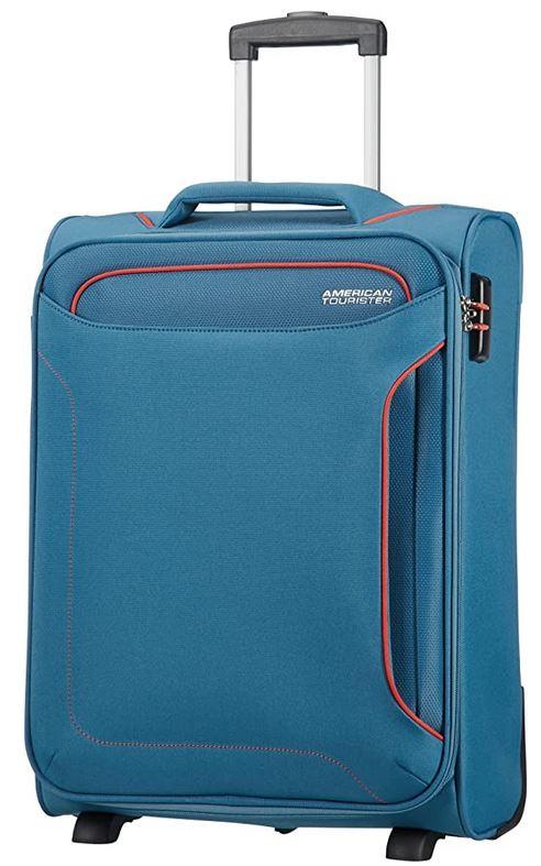 american tourister Holiday Heat de 42 litres bagage cabine bleu jeans avec des contours oranges