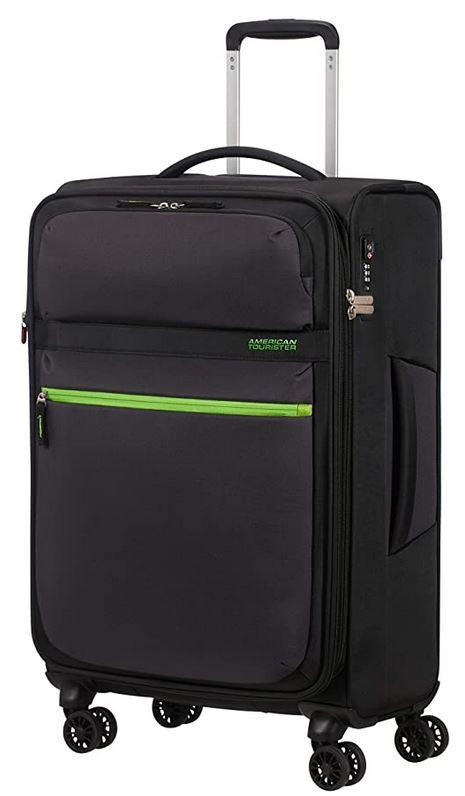 bagage cabine American Tourister noir volt black dune capacite de 78 litres tres legere avec 4 roues