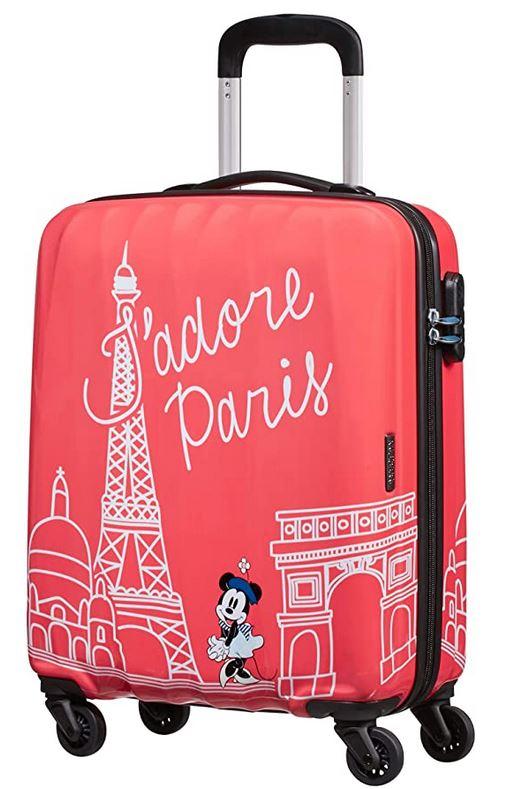 bagage cabine pour enfant Disney Legend Spinner taille S modele Jadore Paris avec Minnie Mouse sur fond rose marque American Tourister