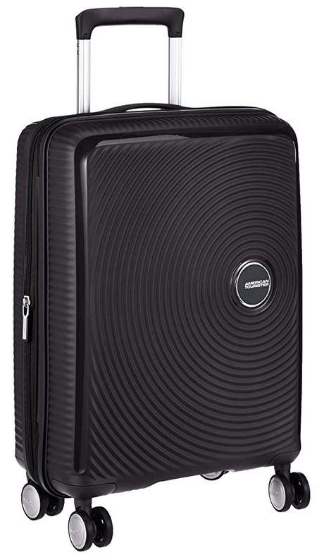 bagage taille cabine de la marque American Tourister Soundbox spinner noir 41 litres 55cm avec serrure TSA integrees et 4 roulettes