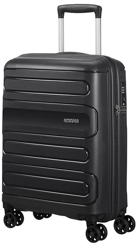 bagage taille cabine de la marque American Tourister modele Sunside spinner noir 35 litres 55cm avec serrure TSA et roulettes