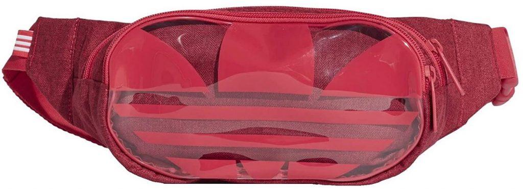 banane adidas rouge en tissu avec une partie en plastique transparent sur le devant
