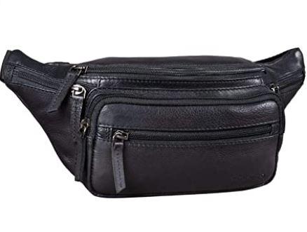 banane de voyage pratique en cuir noir avec de nombreuses poches et fermetures de la marque Stilord