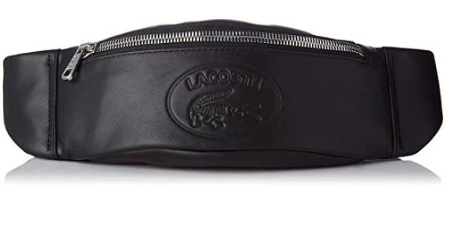 banane masculine pratique pour partir en voyage de la marque Lacoste modele Nh2657ic en cuir noir