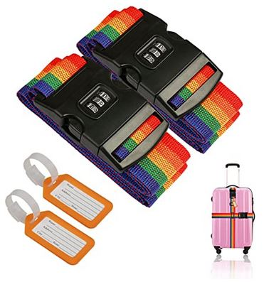 deux sangles de valises multicolores de la marque Zoomsky pour securiser un bagage