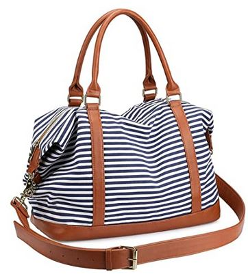 grand sac de week end au design marin avec rayures bleues et blanches pour femme de la marque Losmile