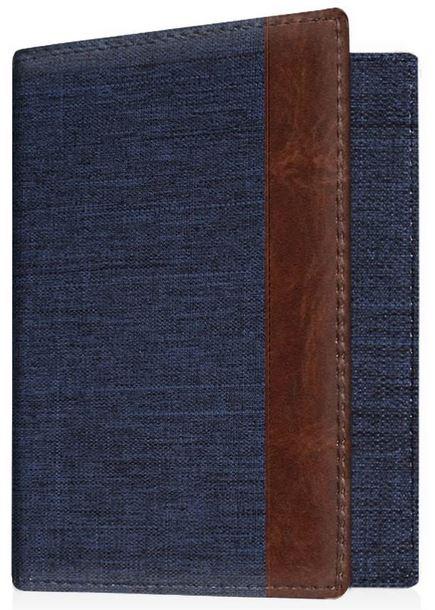 housse protege passeport en jeans avec une bande en cuir marron de marque Fintie