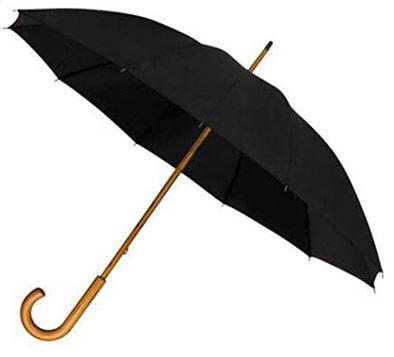 long parapluie canne au design unisexe avec un diametre de plus dun metre et une poignee de type canne en bois