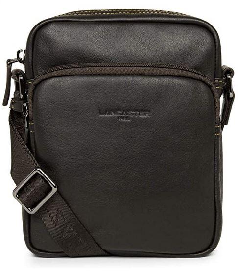 petite sacoche masculine noir en cuir de la marque Lancaster avec double compartiments