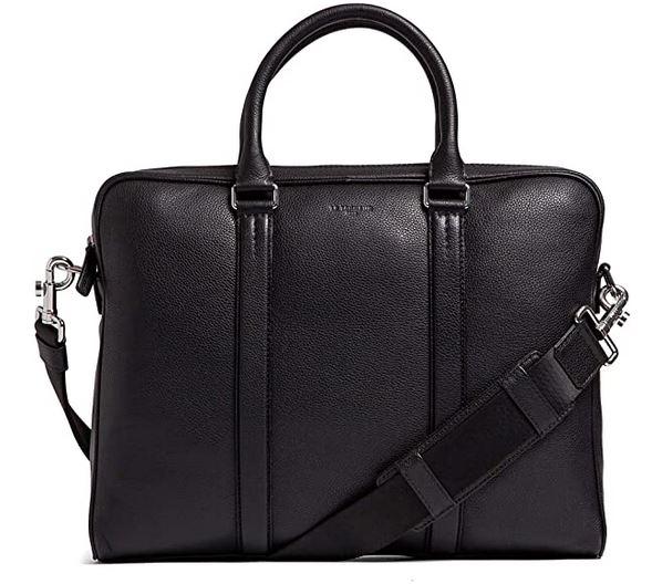 porte document Le Tanneur pour homme en cuir noir pouvant accueillir un ordinateur portable de 14 pouces et moins