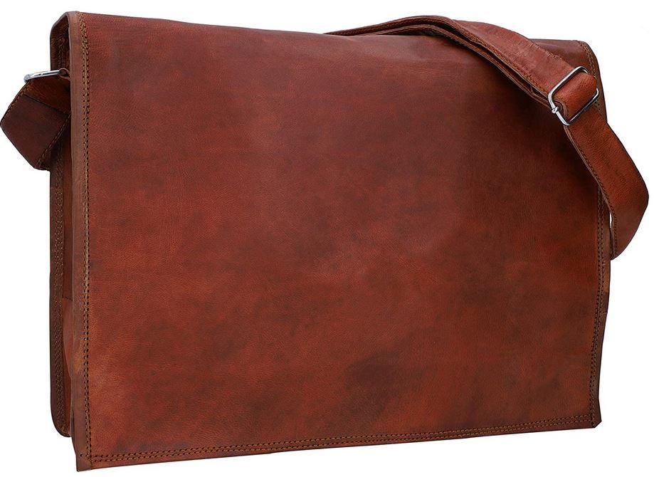 porte document en cuir marron pour homme de la marque Gusti avec emplacement pour ordinateur portable et laniere depaule