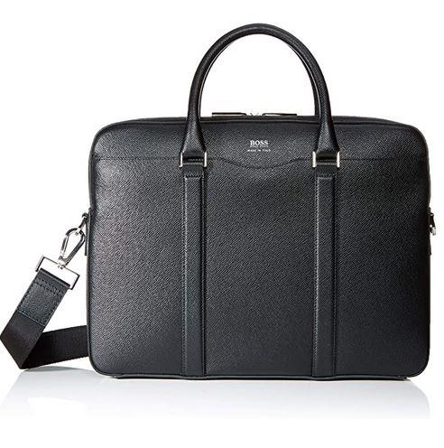 porte document en cuir noir de type serviette dordinateur pour homme de la marque Hugo Boss