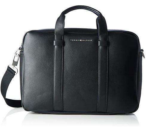 porte document masculin Tommy Hilfiger en cuir noir