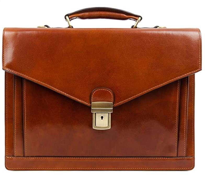 porte document vintage en cuir marron fonce pour homme de la marque Time Resistance