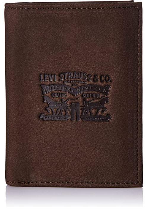 portefeuille homme Levis Strauss co en cuir marron lisse