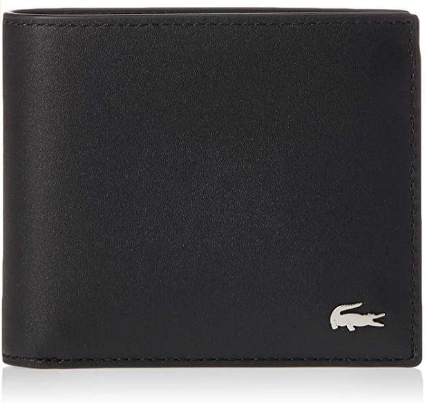 portefeuille homme en cuir noir de la marque Lacoste avec le logo crocodile argente
