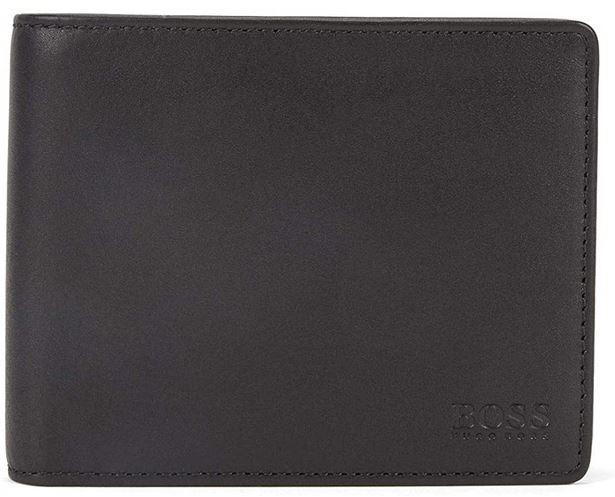 portefeuille pour homme en cuir lisse noir Hugo Boss modele Asolo avec deux volets ainsi quune poche pour la monnaie