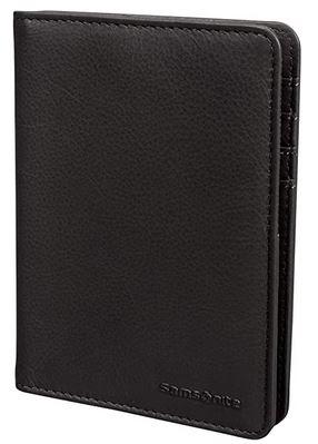 protege passeport Samsonite en cuir lisse de couleur noir