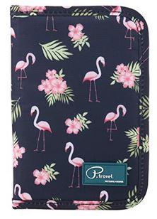 protege passeport bleu avec motifs de flamants roses