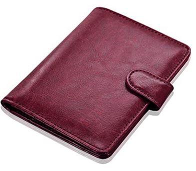 protege passeport en cuir rose fonce avec protection anti RFID et organisateur de voyage
