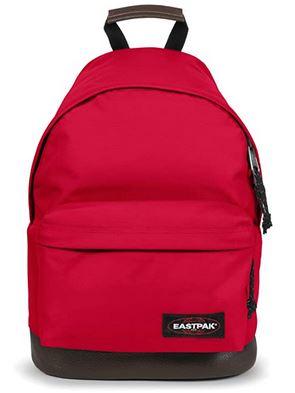 sac a dos Wyoming rouge avec la partie inferieure en cuir marron de la marque Eastpak