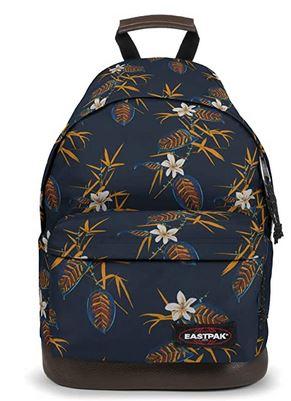 sac a dos de la marque Eastpak modele Wyoming de couleur bleu orne de fleurs blanches et jaunes