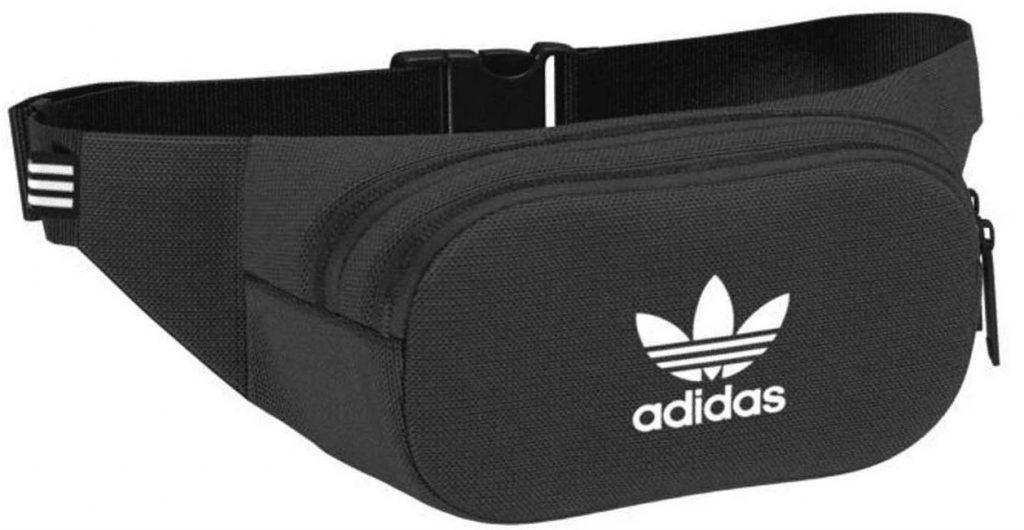 sac banane Adidas Essential C Body noir modele DV2400 avec poche frontale et logo en blanc